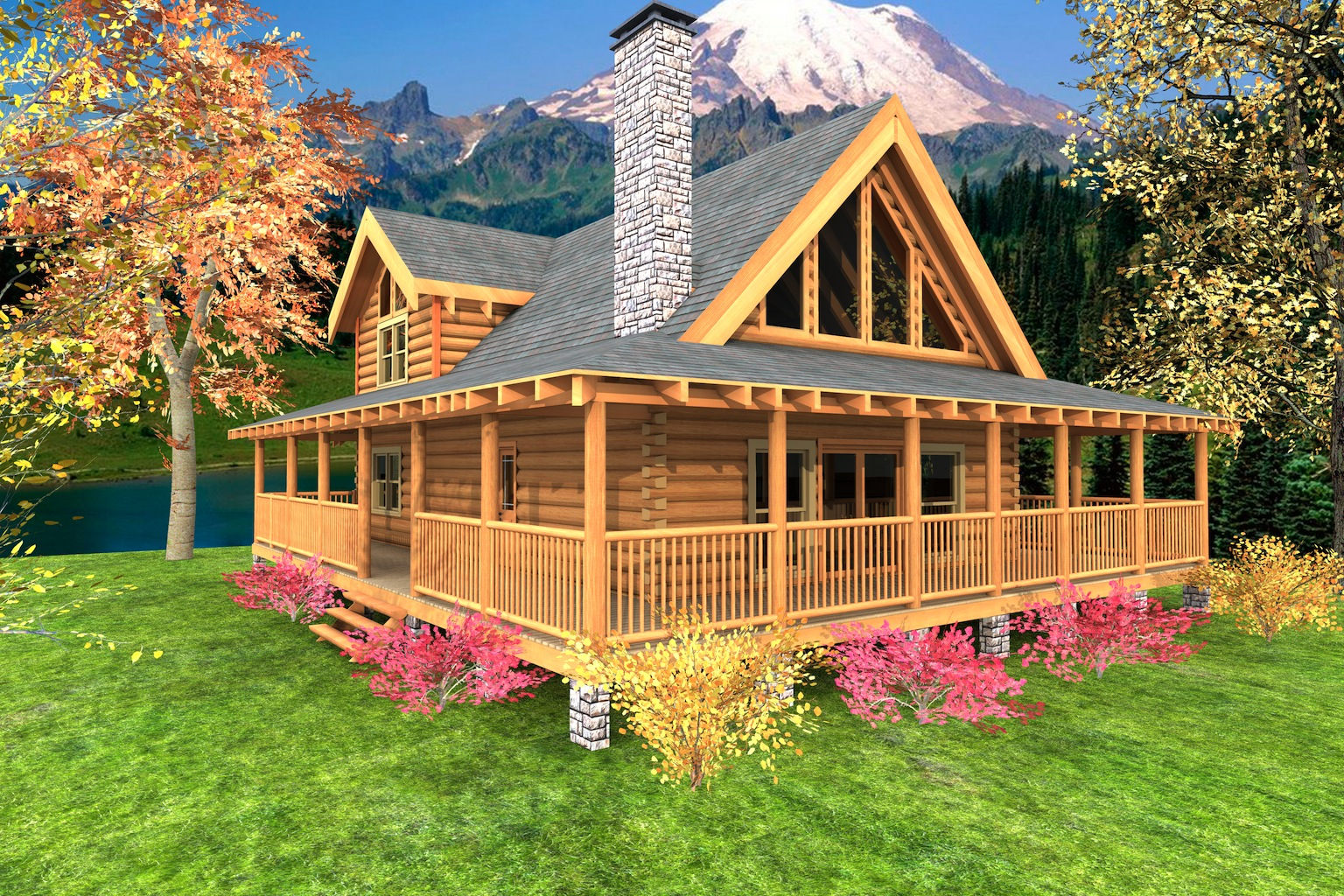 Mountain crest log home custom timber log homes for Log home porches