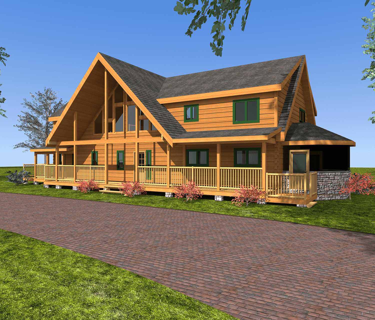 Square Timber Log Home Plans