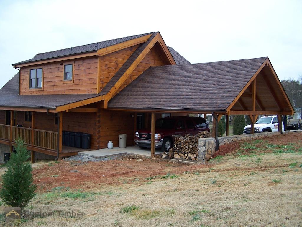 Howe log home gallery custom timber log homes for Log carports