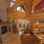 Great Room Log Home with Beams