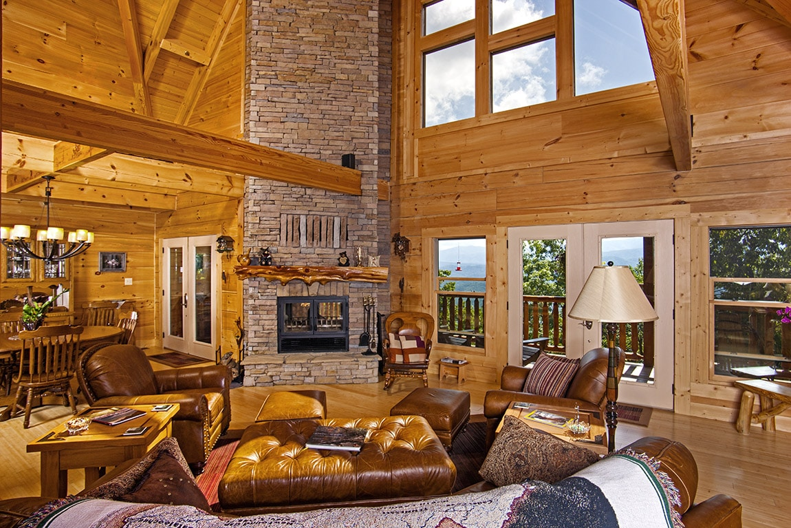 The top 3 most luxurious log homes custom timber log homes for Log living room