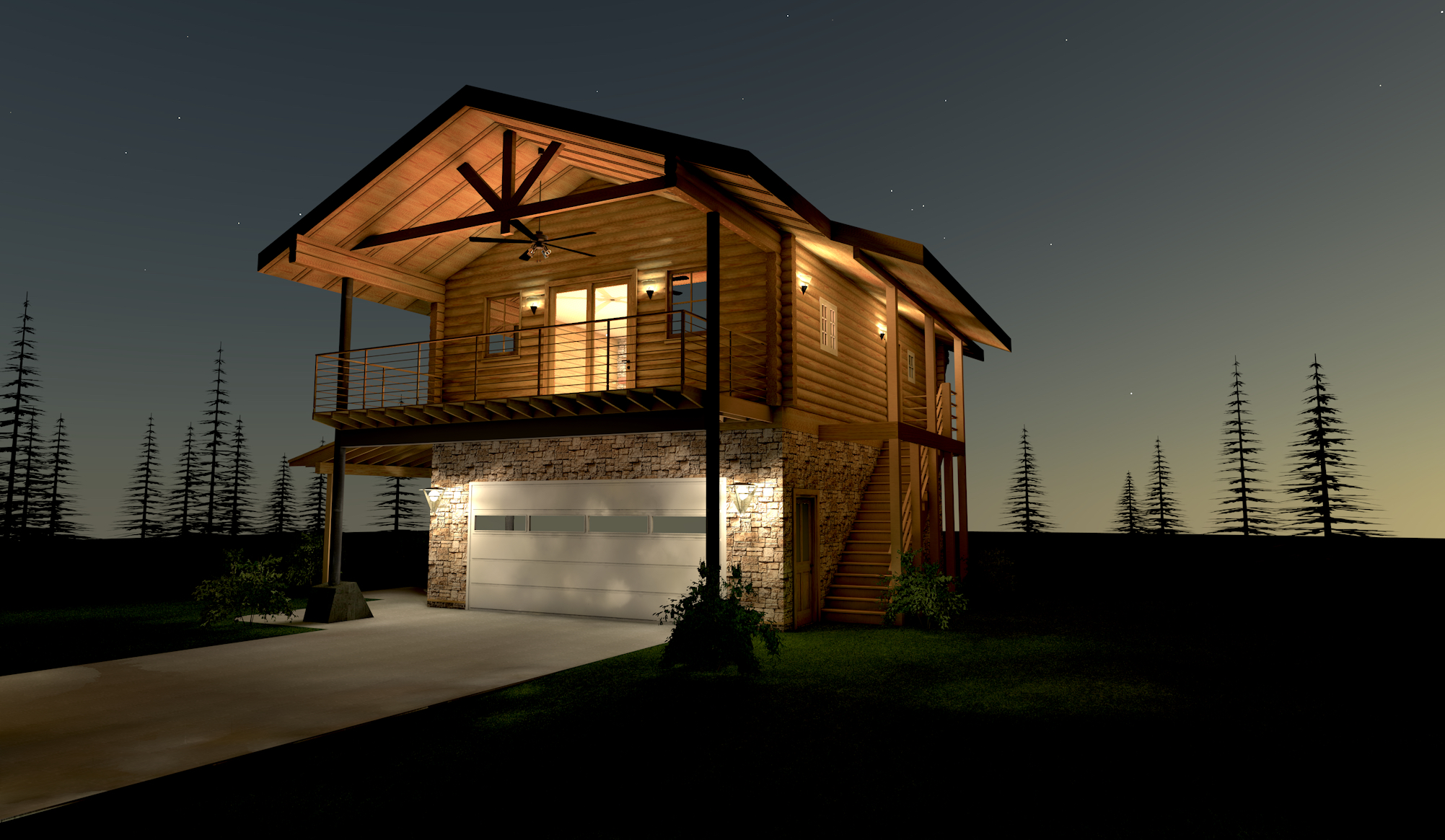 Sunrise Pines Log Home on Custom One Story Homes Plans