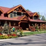 Front of Log Cabin Decorated