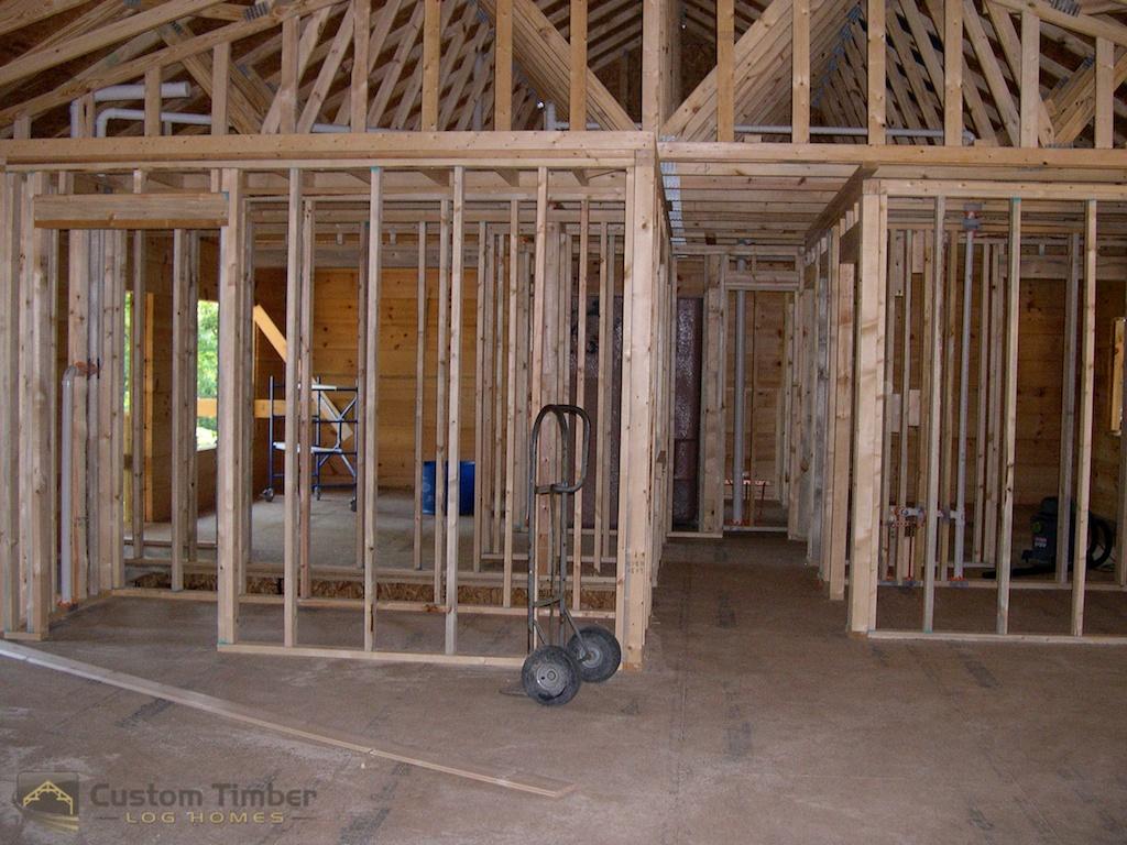 Stud Walls in Log Home